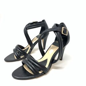 ISOLA | Black Leather Strapy Heels Size 6.5